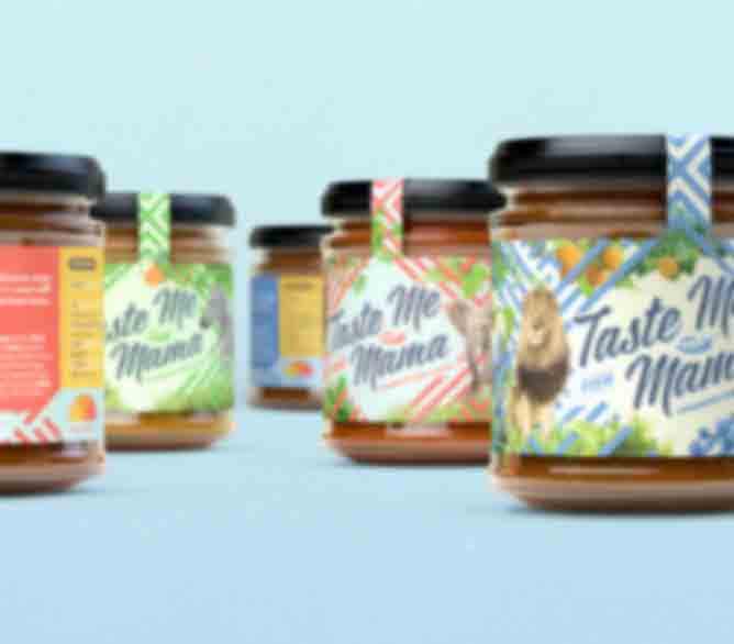 Forecast Design illustrated a lively and colourful brand for a new Ghanaian chilli sauce company called Taste Me Mama